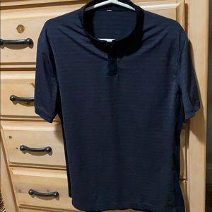 Lululemon golf shirt dark charcoal & black striped